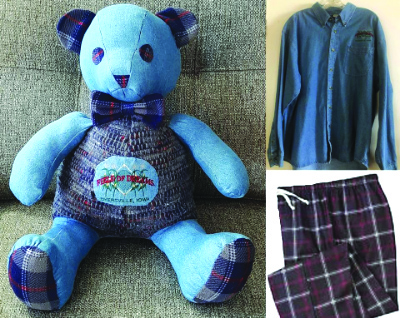 A teddy bear made from the clothes of a newborn's late grandpa.