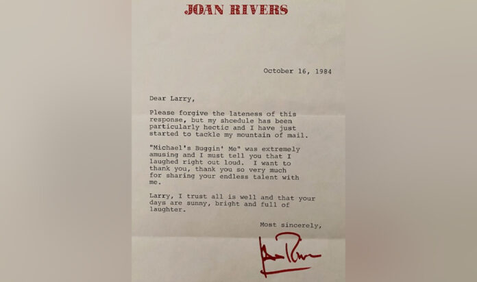 Larry Lawson's letter from Joan Rivers