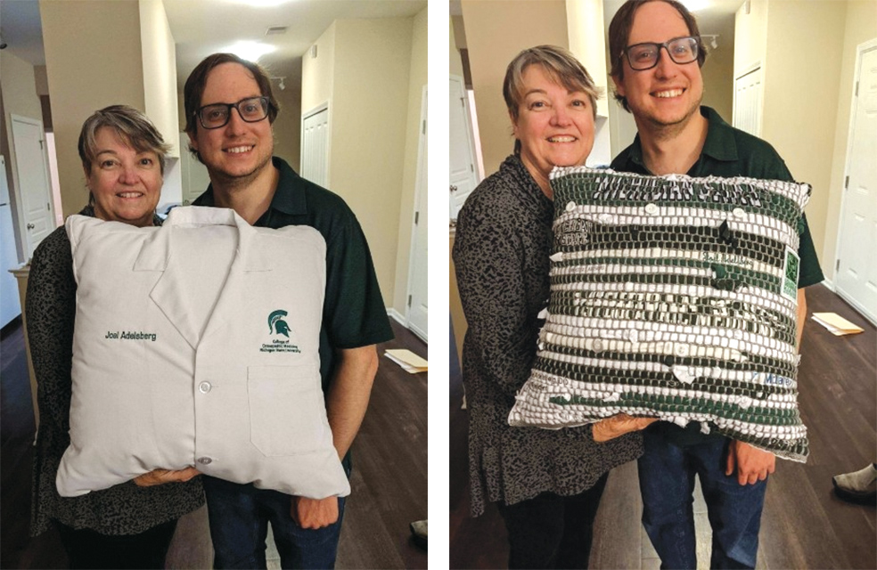 Both sides of a pillow made by Phyllis Adelsberg to celebrate her son Joel's graduation from medical school.