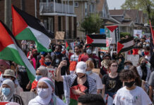 Pro-Palestinian protesters march in Dearborn, Mich., May 18, 2021.