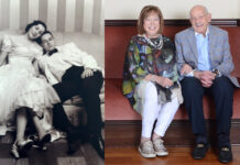 Suzanne and Burton Shifman, then and now.