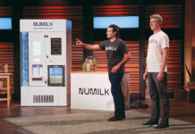 The founders of Numilk, Joe Savino and Ari Tolwin, pitching on an episode of ABC's Shark Tank.