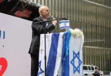 Elisha Wiesel at a rally for Israel and against antisemitism in Lower Manhattan, May 23, 2021.
