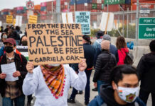In Oakland, Calif., protesters at the port on June 4, 2021, where they halted a container ship owned by the Israel-based Zim Integrated Shipping Services Ltd. in a campaign tied to the BDS movement.
