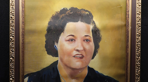 This portrait of Gladys Presley hangs on the wall inside the Graceland mansion in Memphis.