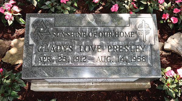 Gladys Presley's grave marker, now on display at Graceland. It was designed by her famous son to honor the family's Jewish heritage.