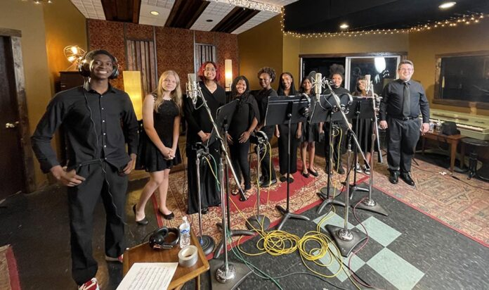 Members of the Detroit Children's Choir lay down tracks for the film's final song.