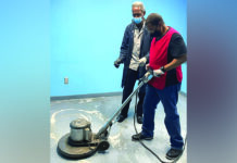 JVS janitorial program trainee Vernard McGouch with trainer Charles Roberts.