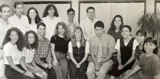 Vintage photo of JOIN participants. Debra Silver is on the far right.