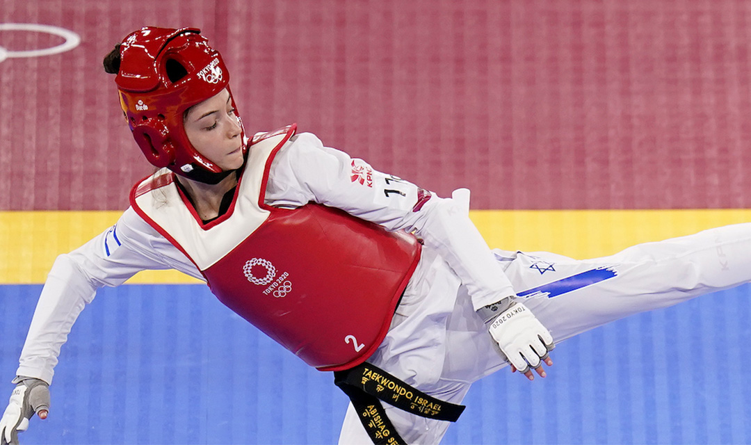 Israel's Avishag Semberg competes in the women's -49kg Taekwando tournament on the first day of the Tokyo Olympics, July 24, 2021