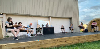 A rehearsal on the outdoor stage.