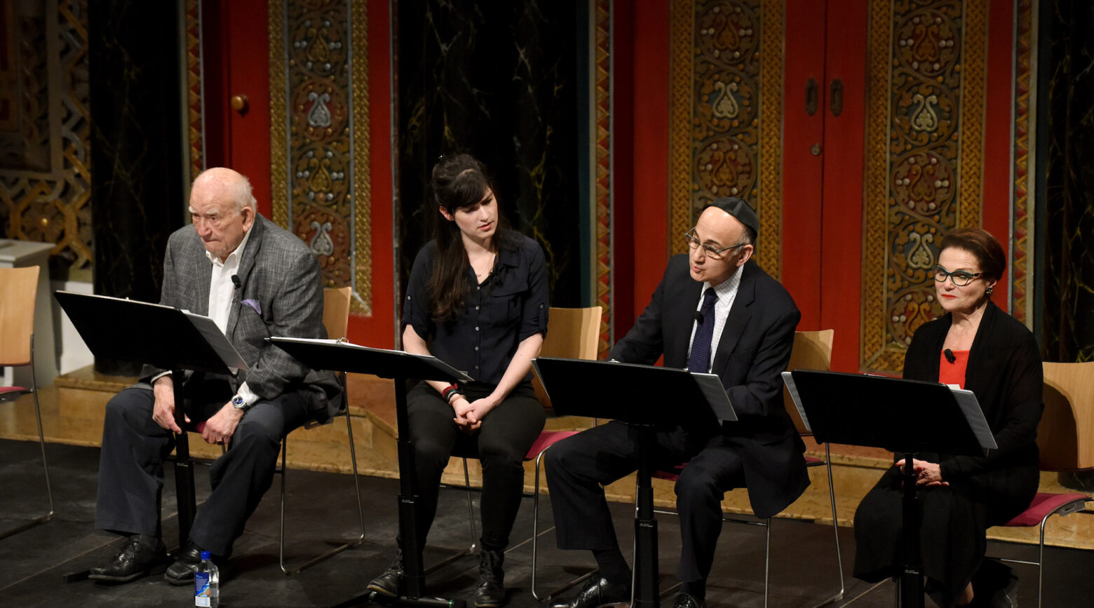 """From left to right: Ed Asner, Liba Vaynberg, Ned Eisenberg and Tovah Feldshuh in a reading of """"The Soap Myth"""" at the B'nai Jeshurun synagogue in New York, Jan. 23, 2019."""