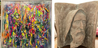 """The silent auction features acrylic on canvas painting titled""""The Carnivale"""" (left)by Yiannis Karimalis, and a plaster sculpture titled""""Moses"""" (right)by David Fisher."""
