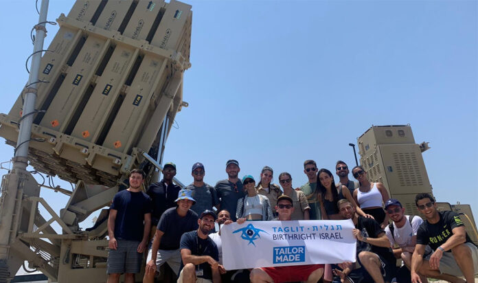 On a Birthright trip in July, participants visited an Iron Dome anti-rocket battery where one of the trip's Israeli participants does their army service.