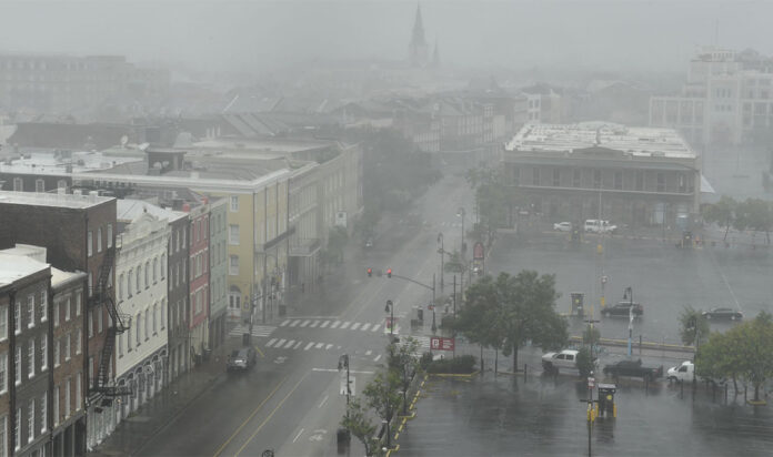 A view of rain from Hurricane Ida in New Orleans, Aug. 29, 2021.