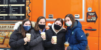 Bear Claw at Hillel: Students enjoy a hot drink on a cold day with the Bear Claw Coffee Truck at Michigan Hillel.