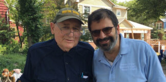 Sen. Carl Levin with current JCRC/AJC Executive Director Rabbi Asher Lopatin, at the Huntington Woods July 4th Parade, 2018.