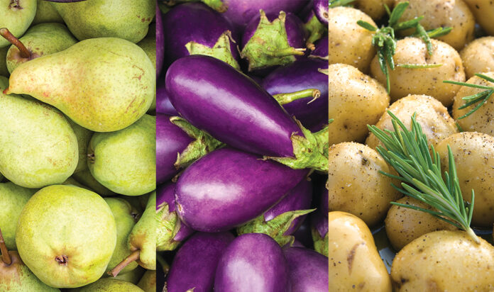 Selection of fruits and vegetables