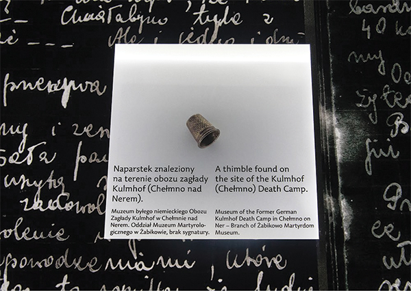 A thimble found on the site of the Kulmhof (Chelmo) Death Camp.