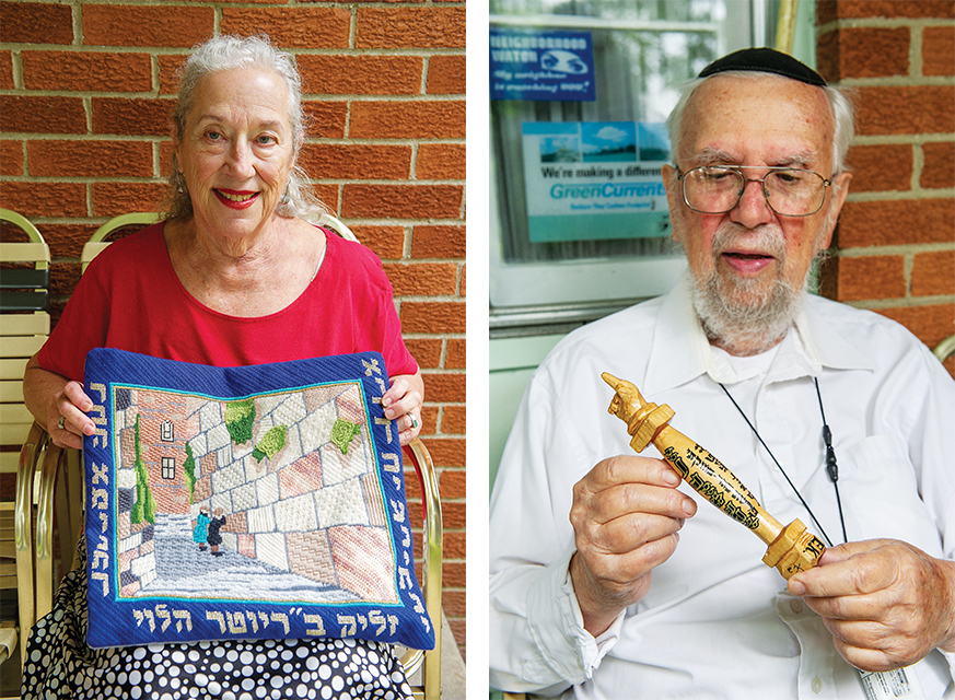LEFT: Cherna Kowalsky with one of her needlepoints. RIGHT: Eugene Kowalsky holds one of the yads he carved.