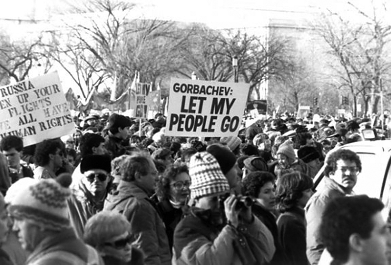 A scene from the Free Soviet Jewry March, Dec. 6, 1987, with Sen. Carl Levin in the lower left.