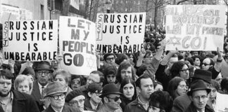A screenshot, from the 2007 documentary Refusenik by Laura Bialis, which chronicles the 30-year international movement to free Soviet Jews.