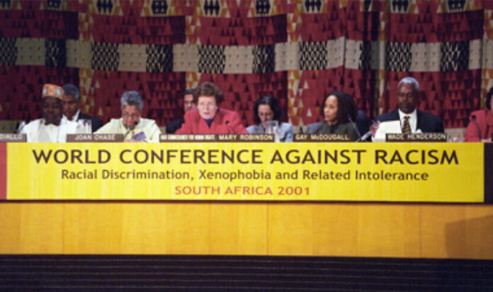 A panel at the World Conference against Racism in Durban, South Africa, from Aug. 31 to Sept. 8, 2001.