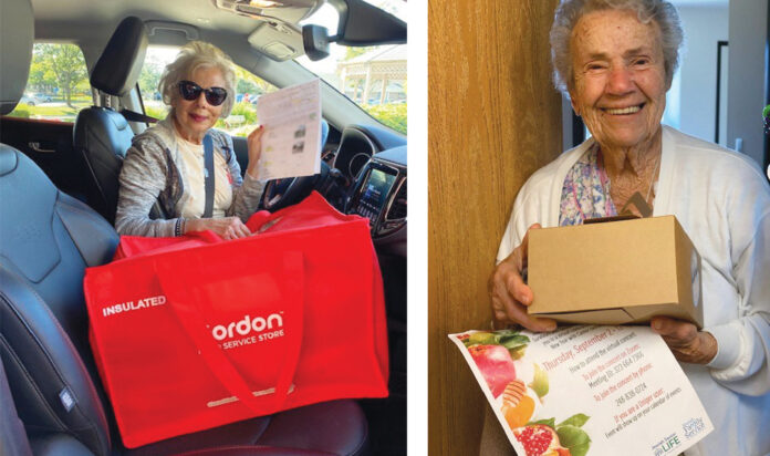 LEFT: Volunteer Sandra Silver is ready to make her deliveries. RIGHT: Edith Birnholtz receives her boxed lunch prior to the virtual concert.