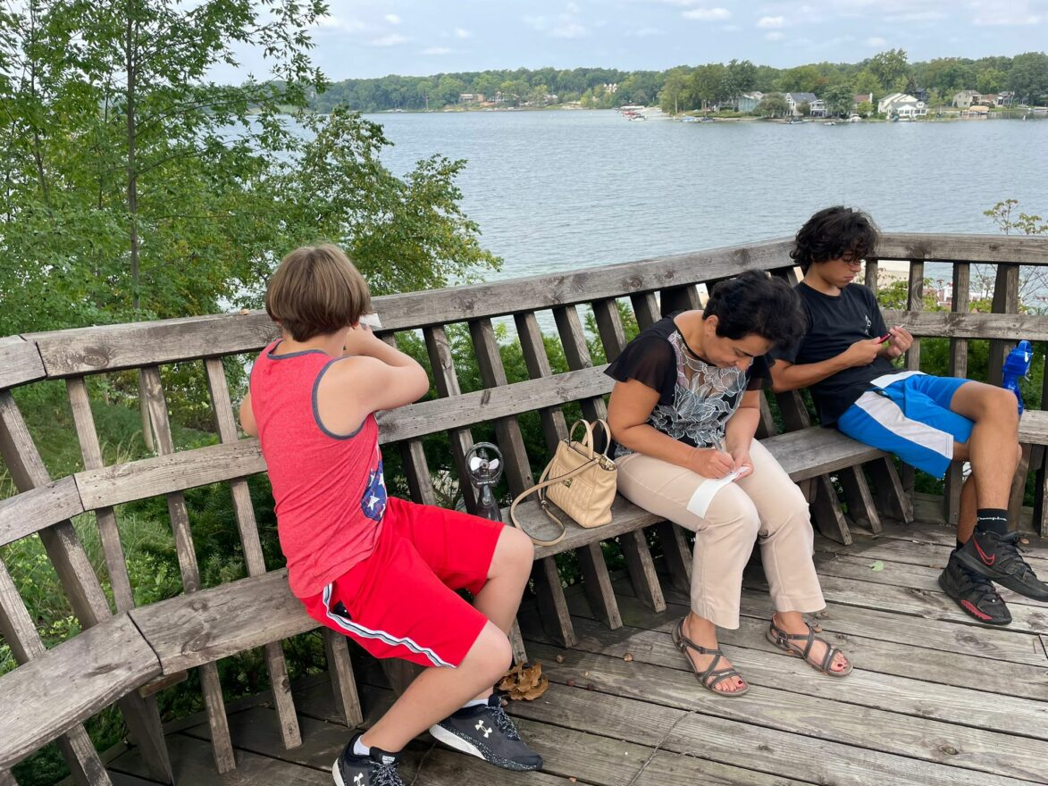 Families from The Shul enjoyed a Tashlich event.