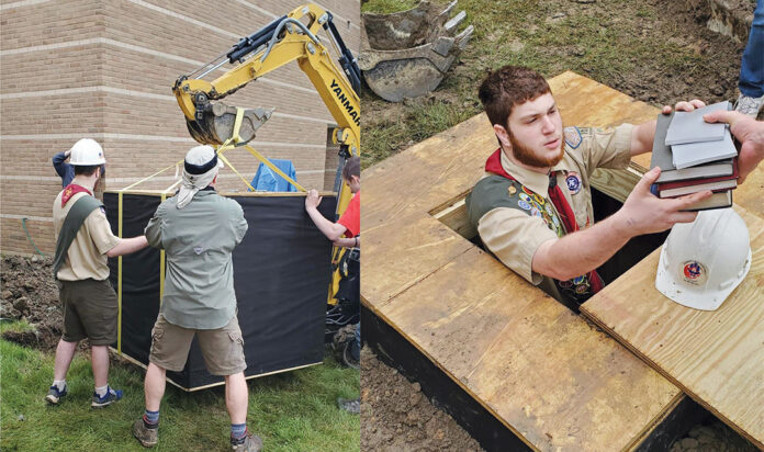 Left: The installation of the genizah took place this summer. Right: Zachary Friedman lowers books into the genizah.