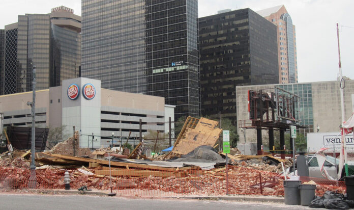 A view of the destroyed Karnofsky family building where Louis Armstrong was a regular guest in New Orleans, Louisiana on Aug. 31, 2021.