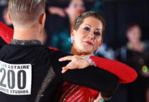 Shari Finsilver dancing bolero in her first national Fred Astaire competition with teacher and partner Mykhailo Annienkov in 2019