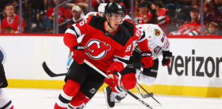 Jack Hughes in action for the New Jersey Devils at the Prudential Center in Newark, N.J., Oct. 15, 2021.