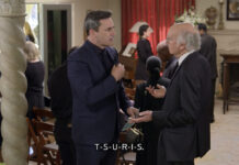 """Jon Hamm and Larry David discuss Yiddish words during the first episode of Season 11 of """"Curb Your Enthusiasm."""""""