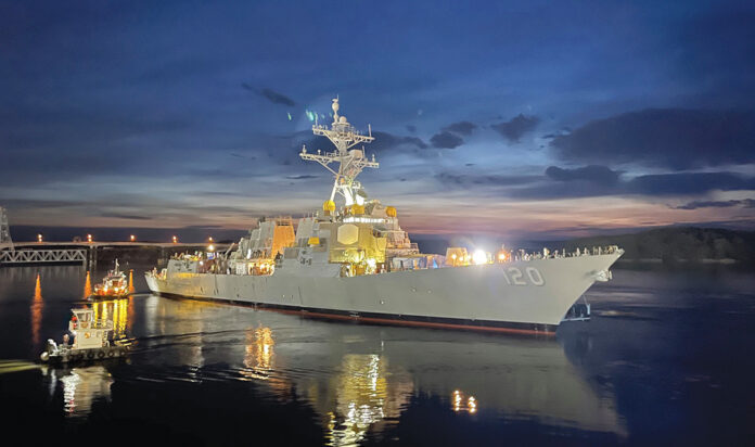 The christening of the USS Carl M. Levin, an Arleigh Burke-class destroyer, was set for Oct. 2 at the Bath Iron Works in Maine.