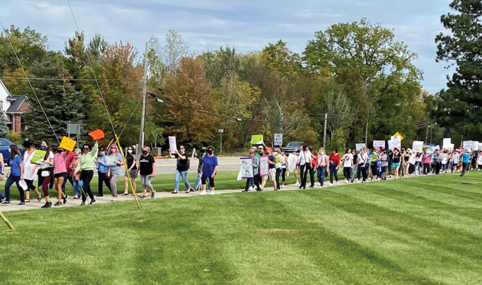 Hundreds of marchers walked from Temple Shir Shalom to demonstrate their support for reproductive rights.